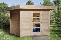 Abri bois design LOUNGE1 toit une pente 235X300cm Bois brut