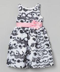 Black & White Floral Sash Dress - Toddler & Girls