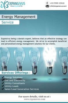 Energy management solutions by Expansivus, serving both domestic & commercial clients in a wide range of industries.. For More details please visit here: - www.expansivus.com/energy-and-utilities-services.html or call us: - +44 (0)7809 153618..
