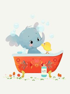 Elephant in Bathtub Children's Art Print by FridaBandida Little Elephant, Children's Book Illustration, Art Tutorials, Baby Love, Childrens Books, Illustrators, Picture Frames, Hello Kitty, Diy And Crafts