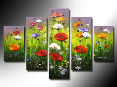 Pure hand-painted oil painting, poppies and wild flowers in full bloom at the same time, free shipping $99.00