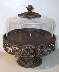 GG COLLECTION Gracious Goods Metal Cake Plate Glass Dome Pedestal Tray  #GraciousGoods