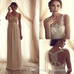 Dreamlike 2014 Anna Campbell Wedding Gown Dresses Sheath Scoop Ivory/White Appliques Beads Bridal Dress