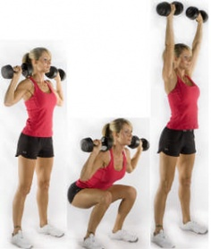 Dumbbell Squat And Press: Targets: Middle Deltoids(Middle Shoulder Muscle) , Biceps, Thighs, Butt & Lower Back Muscles. Also will strengthen the ligaments and tendons of your knees. Gym Back Workout, Best Cardio Workout, Workouts, Lower Back Muscles, Lower Back Exercises, Fitness Goals, Fitness Tips, Ligaments And Tendons, Dumbbell Squat