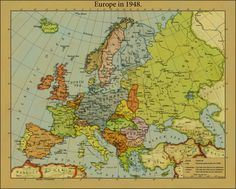 Europe in 1948 by on DeviantArt Vintage Maps, Antique Maps, Imaginary Maps, Country Maps, Fantasy Map, Alternate History, Old Maps, Map Design, Historical Maps