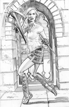 Mike Mayhew Original BUFFY THE VAMPIRE SLAYER Pencil Commission Comic Art