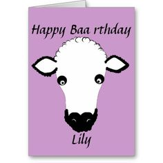 Funny Sheep Birthday, baa rthday, add name front Greeting Cards
