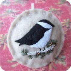Holiday Chickadee Felt Bird Christmas Ornament by TheTinyGarden