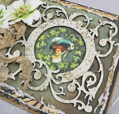 Irish Blessings Birthday Card by Tracey Sabella ~ DT for Helmar - Close-Up: Leaky Shed Studio Garden Circle Frame Chipboard, Fran-tage Embossing Enamel, Flowers, Petaloo, Triple Loop Bow, Seam Binding Bow, Distrezz-it-All by Donna Salazar,