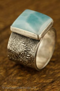 Perfect Sky-Blue Larimar Sterling Silver Ring by MichaelTheeStudio