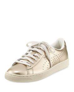 Pinterest // sophiekate... ℓσνєѕ ღ #Puma Basket Classic Citi Metallic Low-Top Sneaker, Silver Gold/Whisper White