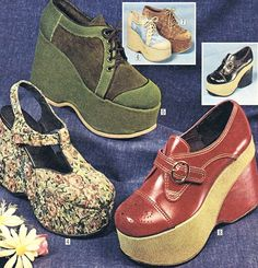1970s platform shoes...kind of like the red ones!
