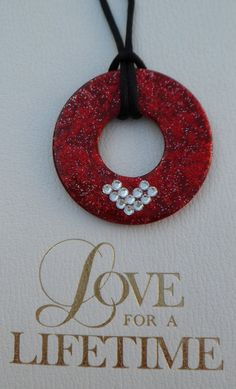 Red Glitter Hand Painted Washer Necklace with Heart Swarovski Crystals-Red on Etsy, $13.00