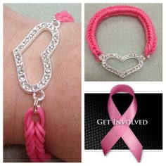 *For Charity* Rainbow loom fishtail pattern Breast Care Awareness bracelet with heart connector - donating profit