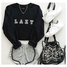 Lazy Graphic Black Hoody Sweatshirts Hoodie Casual Sweatshirts Autumn and winter women hoodies printed letters Long Sleeve(China (Mainland))