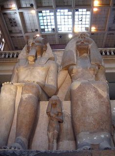 A colossal statue of Egyptian pharaoh Amenhotep III and Queen Tiye in the Cairo Museum, with Princess Henuttaneb. Amenhotep Iii, Egyptian Temple, Ancient Egyptian Art, Cairo Museum, Ancient Egypt History, Visit Egypt, Egypt Travel, Expo, Ancient Artifacts