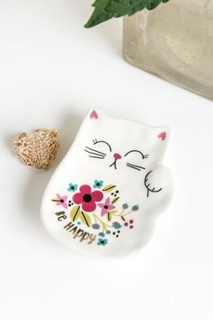 Lucky Cat Be Happy Floral Trinket Dish
