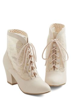 Lace Against Time Bootie in Cream | Mod Retro Vintage Boots | ModCloth.com