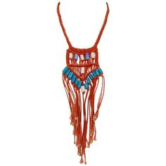Vintage Custom Macrame Red and Blue Ceramic Beaded Necklace ($195) ❤ liked on Polyvore featuring jewelry, necklaces, boho tassel necklace, bohemian necklaces, red bead necklace, beaded tassel necklaces and boho beaded necklace