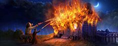 Harry and Hagrid put out Hagrid's hut with Aguamenti, after Hagrid rescues Fang from the blaze.