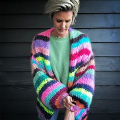 Knitwear Fashion, Knit Fashion, Fashion Fashion, Rainbow Cardigan, Aesthetic Sweaters, Mohair Yarn, Origami Fashion, Sweater Scarf, Jumpsuit Pattern
