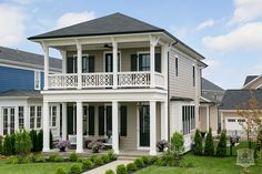 Black shutters and window frames. 2014 Norton Commons Charity Home traditional-exterior Custom Home Builders, Norton Commons, Florida Home, Tuscan House, Building A New Home, Dream Beach Houses, Porch House Plans, Build Your House, Charleston Homes