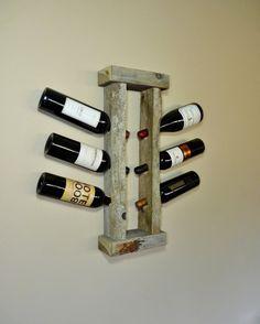Barn Wood Wine Rack - What a great rustic way to display wine.