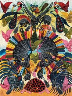 anotherafrica:  Tinga Tinga style illustration and painting by Omary Ally, courtesy of Inside African Art | read more