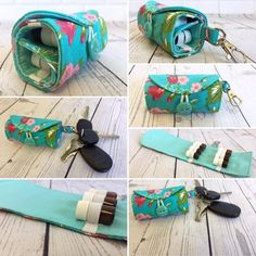 Essential Oil Case, Essential Oil Storage, Sewing Hacks, Sewing Crafts, Sewing Projects, Pouch Pattern, Easy Sewing Patterns, Zipper Pouch, Key Rings