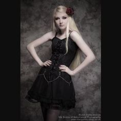 Lace-Up Black Gothic Dress with Chains & Crosses