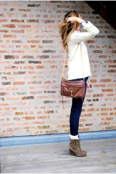 skinny jeans with socks & ankle boots.