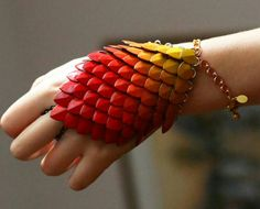 Ombre Hand Painted Fire Dragonscale Scalemaille Bracelet Bracer - Fully Adjustable Elven Armor!
