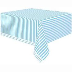 Light Blue U0026 White Stripe Tablecloth; Baby Shower Table Covers; Birthday  Party Table Covers
