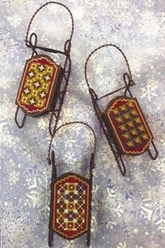 Red Border Sleds - Sled Ornament - Cross Stitch Pattern