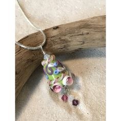 Necklaces SALE Green glass lampwork bell shaped bead with crystals ($20) ❤ liked on Polyvore featuring jewelry and necklaces