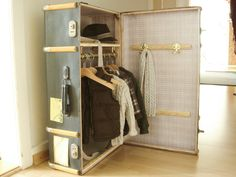 An old cabin trunk becomes a wardrobe