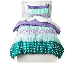 Ruched Polka Dot Twin Comforter, Sheets, Sham & Home Style Exclusive Sleep Mask (6 Pc Bedding Bundle)