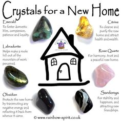 New Home Crystal Set - Stone Crystal Healing Stones, Crystal Magic, Crystal Guide, Crystals In The Home, Natural Crystals, Crystals For Kids, Crystals And Gemstones, Stones And Crystals, Chakra Crystals