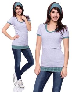 Viva la Mama | Casual, short-sleeved pregnancy and breastfeeding shirt TRIXI in grey with mint-white dots. A beautiful shirt for everyday use, maternity and pregnancy which ensures discreet breastfeeding.