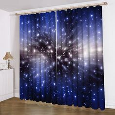 Unicorn printing curtain satin blue home decorating ideas for Sheer galaxy fabric