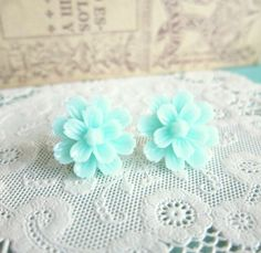 Mint Floral Earrings Flower Studs Pastel Colors by Jewelsalem, $9.98