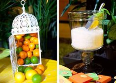 Collage of oranges, limes and lemons and mint spa salts.