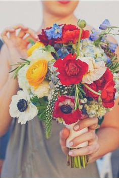 Work by Jolie. Dusty miller, feveWedding Bouquets Love the wildflower feeling to this bouquet and how colorful it is with the anemones and poppies! Trendy Wedding, Floral Wedding, Summer Wedding, Wedding Colors, Our Wedding, Dream Wedding, Wedding Ideas, Poppy Wedding Bouquets, Poppy Bouquet