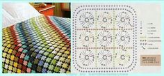 106 best colchas mantas y cojines images on Crochet Bedspread, Baby Blanket Crochet, Crochet Baby, Crochet Blankets, Crochet Squares, Crochet Granny, Granny Squares, Crochet Home, Love Crochet