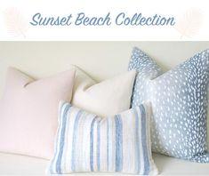 Sunset Beach Collection: Coordinated Pillow Covers in Blush, Cream, and Aqua Natural Pillow Covers, Grey Pillow Covers, Coral Pillows, Blue Throw Pillows, Animal Print Decor, Decorative Pillows, Sunset Beach, Layering, Blush