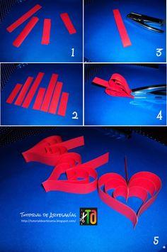 Guirnalda de corazones de papel  http://tutorialdeartesania.blogspot.com.ar/