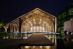 vo trong nghia constructs conference hall using two types of bamboo in vietnam