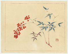 """Red fruits"", Taki Katei (1830-1901) - Part of the series ""Orders of colors"", 1894.    222619_306183502836782_1228210823_n.jpg (880×711)"