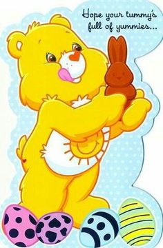 Funshine Bear w chocolate bunny & easter eggs