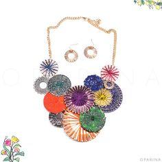 Collar Multicolor de Aros Dorados e Hilos. #oparin #multicolor #boho